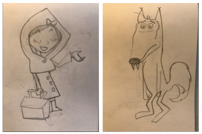 sketch drawings of the characters