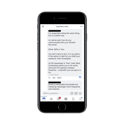 Facebook conversation about Messenger marketing