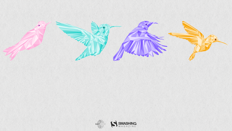 Illustration of four flying birds.