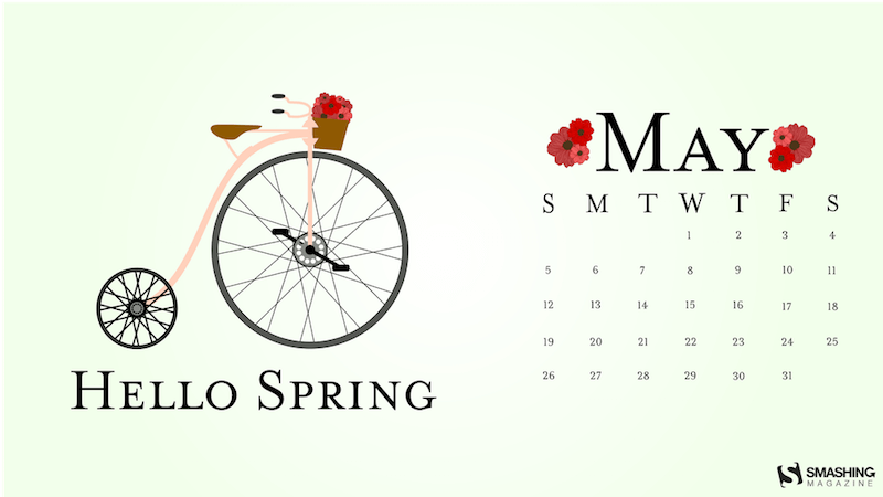Illustration of a pennyfarthing decorated with red flowers.