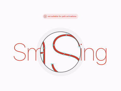 Outlined fonts are not suitable for self-drawing effects with Path Animator