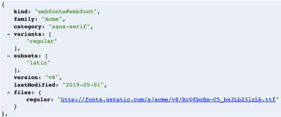 Google Fonts API Request showing a last modified date