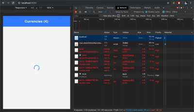 Screenshot of Dev Tools Network tab showing API calls failing.