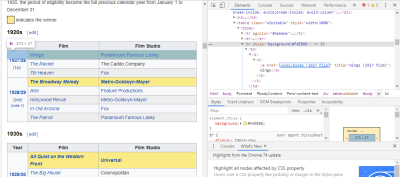 Using Chrome DevTools to inspect HTML and CSS