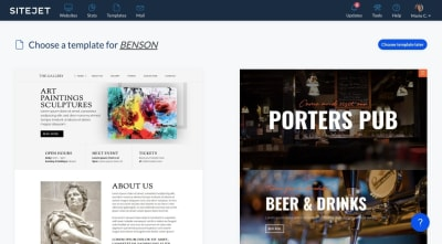 Sitejet has dozens of website templates