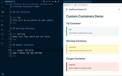 A demonstration of custom containers rendered in VuePress