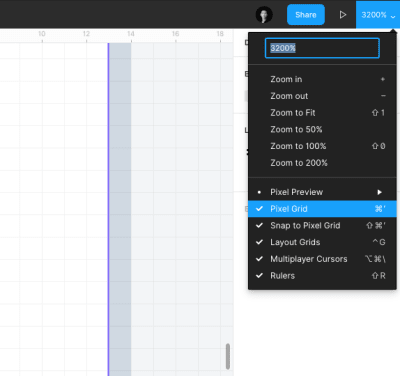 View settings panel in Figma