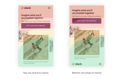 Slack web page navigation reimagined with new thumb-zone mapping