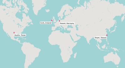 A map of the world showing main locations where our teams are based out of