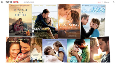 A Vanity Fair article shows off various covers from Nicholas Sparks movies