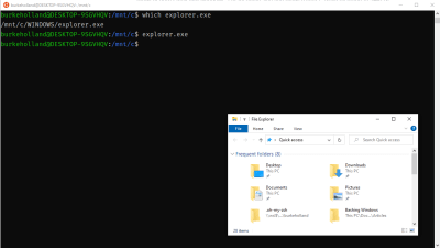 The Windows Explorer and the the Ubuntu terminal