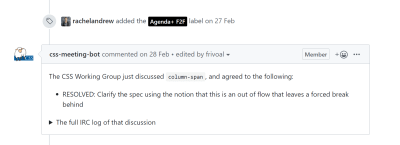 A GitHub message auto-generated to link IRC minutes to the issue