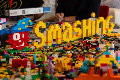 Smashing built in lego bricks