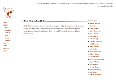 A screenshot of my bio on the WaSP site retrieved from the Internet Archive