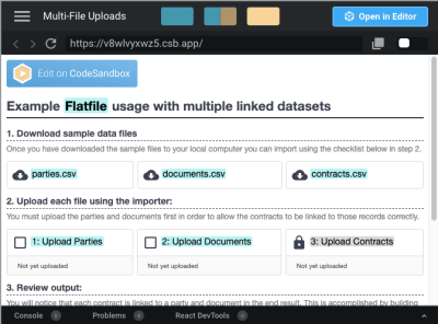 Flatfile demo of multi-file upload