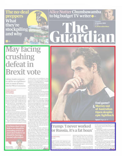 Modular layout in The Guardian newspaper