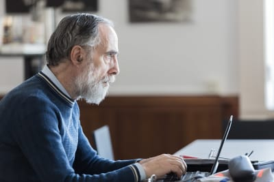 Older man using computer