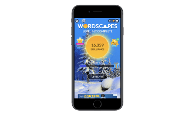 A cutoff banner ad in Wordscapes app