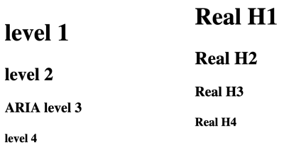 Screenshot showing that the nested h1 elements, and the real heading elements display in the same sizes