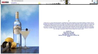 Aviation Gin website 2007