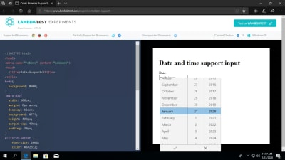 LambdaTest Experiment - date time format in Edge