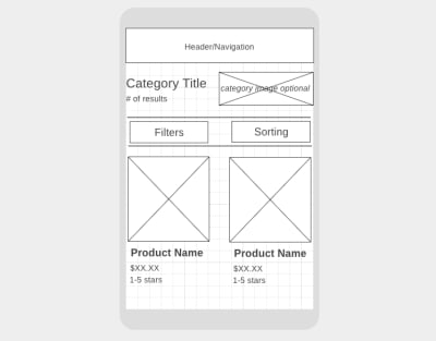 A wireframe for an ecommerce category page on mobile