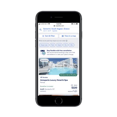 Expedia results for 'Santorini Greece hotels'