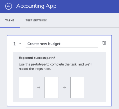"New task ""Create new budget"" for usability test"