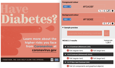 """Original PSA – color contrast ratio of 1.26:1 with the text """"Have"""" against the background with salmon colored PSA"""