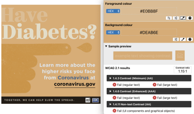 """Protanomaly simulation filter applied – color contrast ratio of 1:15:1 with the text """"Have"""" against the background with tan-orange colored PSA"""