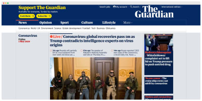 Homepage screenshot of The Guardian newspaper