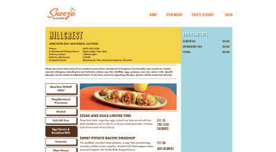 Snooze Eatery online ordering portal