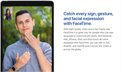 A still image of a video call between two people using sign language