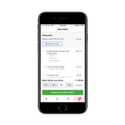 Grubhub checkout page with tips