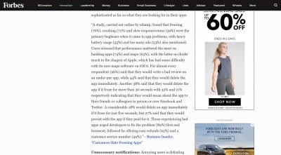 Forbes article - 'Why People Uninstall Apps' - long walls of text and distracting ads