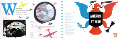 Left: W is for War spread designed by Bradbury Thompson, 1952. Right: America at War spread designed by Bradbury Thompson.