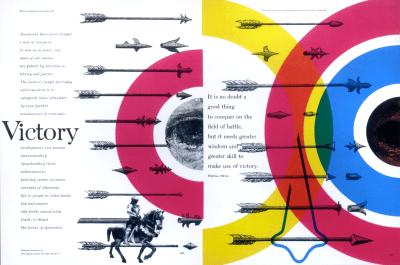 Victory spread designed by Bradbury Thompson, 1953.